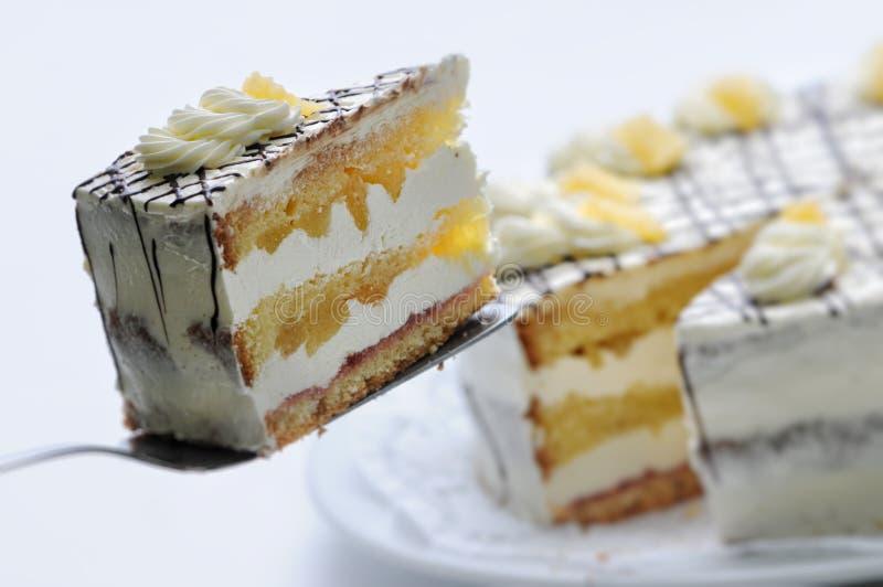 Śmietanka tort z bonkretami i czekoladową polewą na metal łyżce, urodzinowy tort na bielu talerzu, patisserie, fotografia dla skl obrazy royalty free