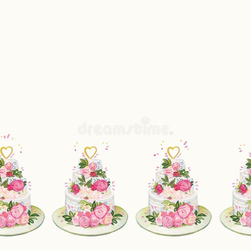 Śmietanki granica z ślubnym tortem i kwiatami ilustracji