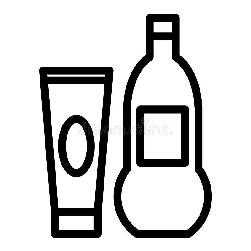 Śmietanki i oleju kreskowa ikona Kosmetyczna ilustracja odizolowywająca na bielu Butelki i tubki konturu styl projektuje, projekt ilustracja wektor