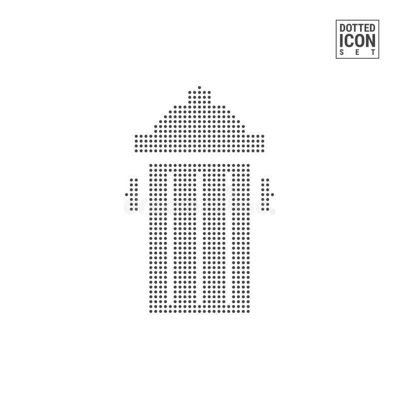 Śmietnik kropki wzoru ikona Przetwarza Wastebasket Kropkującą ikonę Odizolowywającą na bielu Wektorowy tła lub projekta szablon royalty ilustracja