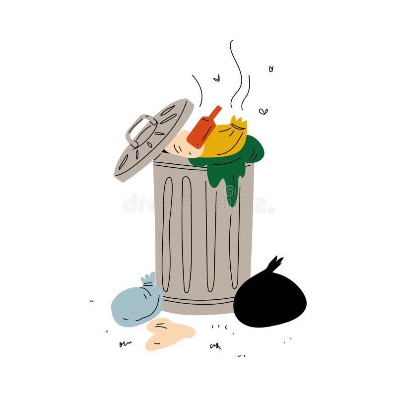 Śmietnik Pełno Zbutwiałe banialuki, Jałowy przerób i spożytkowanie, Ekologiczna Problemowa Wektorowa ilustracja ilustracji