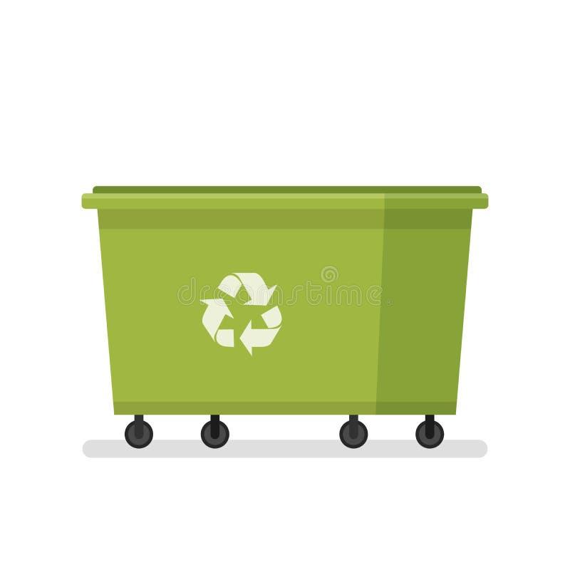 śmietnik Wielki pojemnik na śmiecie Użyteczność usługa zielony grat ilustracji