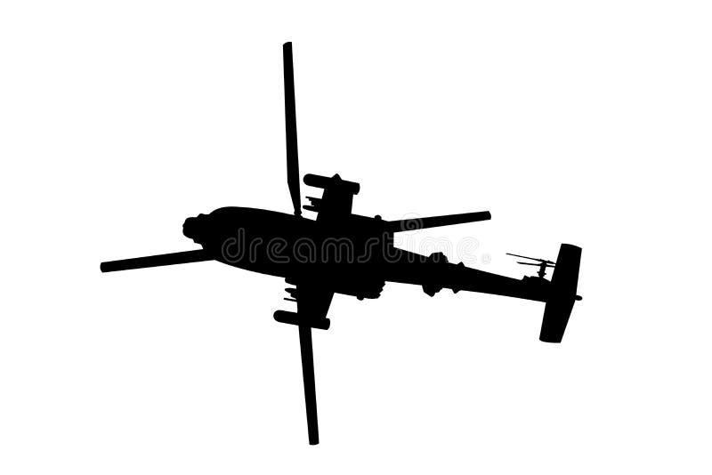 Śmigłowcowa śmigłowiec szturmowy sylwetka royalty ilustracja