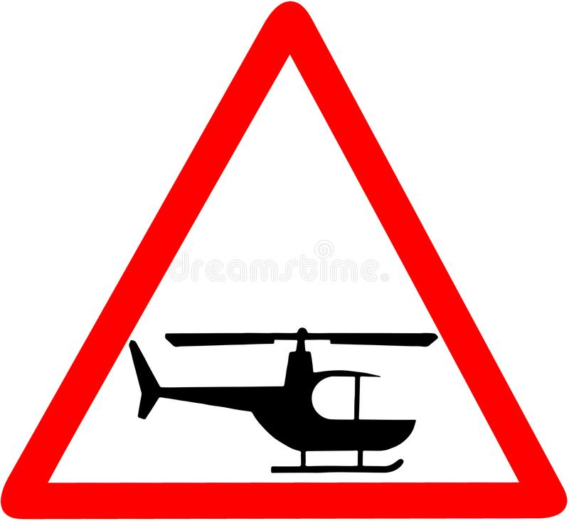 Śmigłowcowej ostrzeżenie ostrożności czerwony trójgraniasty drogowy znak odizolowywający na białym tle royalty ilustracja