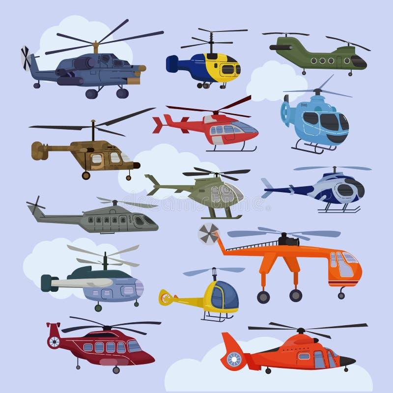 Śmigłowcowy wektorowy copter samolotu strumień, rotoru siekacz lub samolot lota transport w nieba lotnictwa ilustracyjnym secie i royalty ilustracja