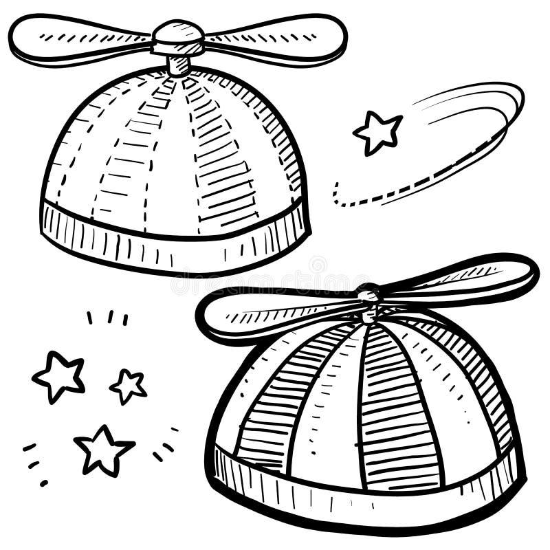 Śmigłowy beanie nakreślenie ilustracji
