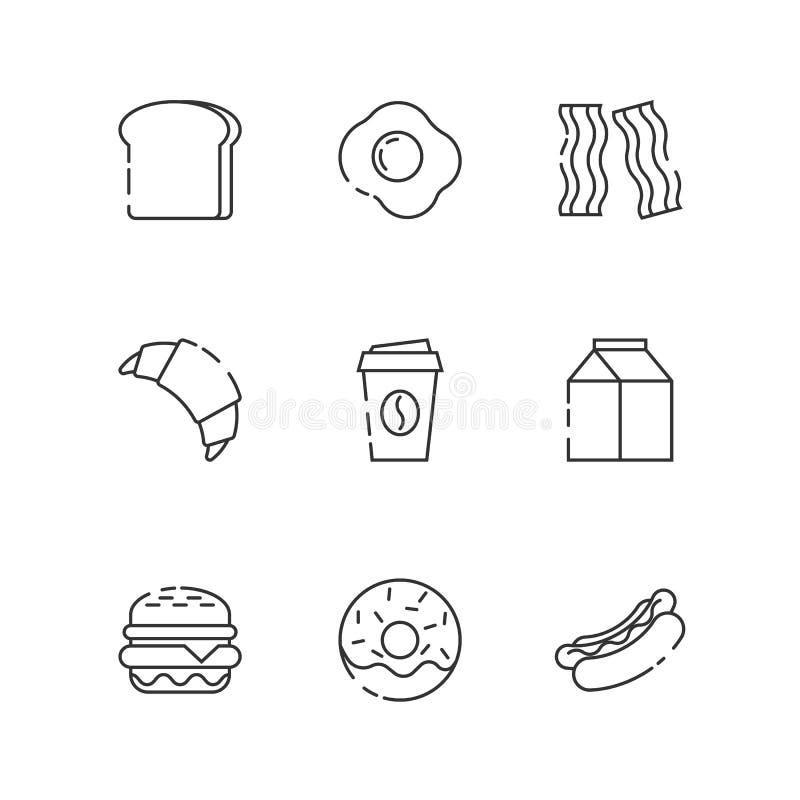 Śniadania i fastfood konturu ikony ilustracja wektor