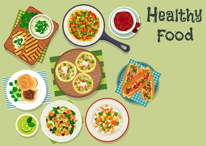 Śniadanie rozdaje ikonę dla healty menu projekta royalty ilustracja