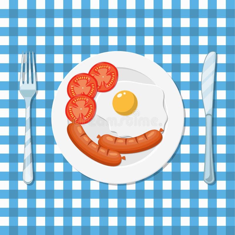 Śniadanie, talerz z smażącym jajkiem i kiełbasa, ilustracji