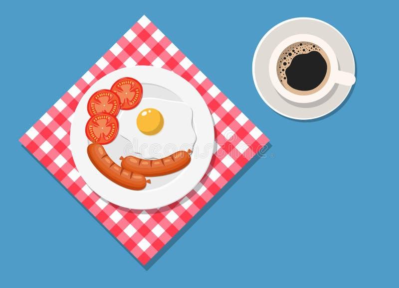 Śniadanie, talerz z smażącym jajkiem i kiełbasa, ilustracja wektor