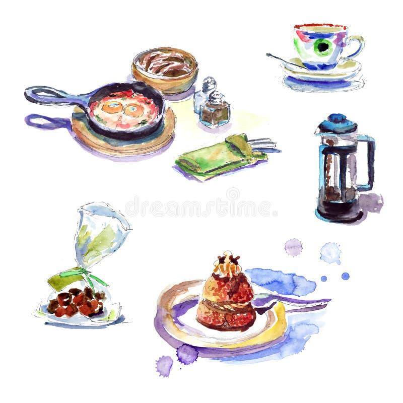 Śniadanie w kawiarni: smażący jajka, kawa, ciastka, tortowy akwareli nakreślenie ilustracja wektor