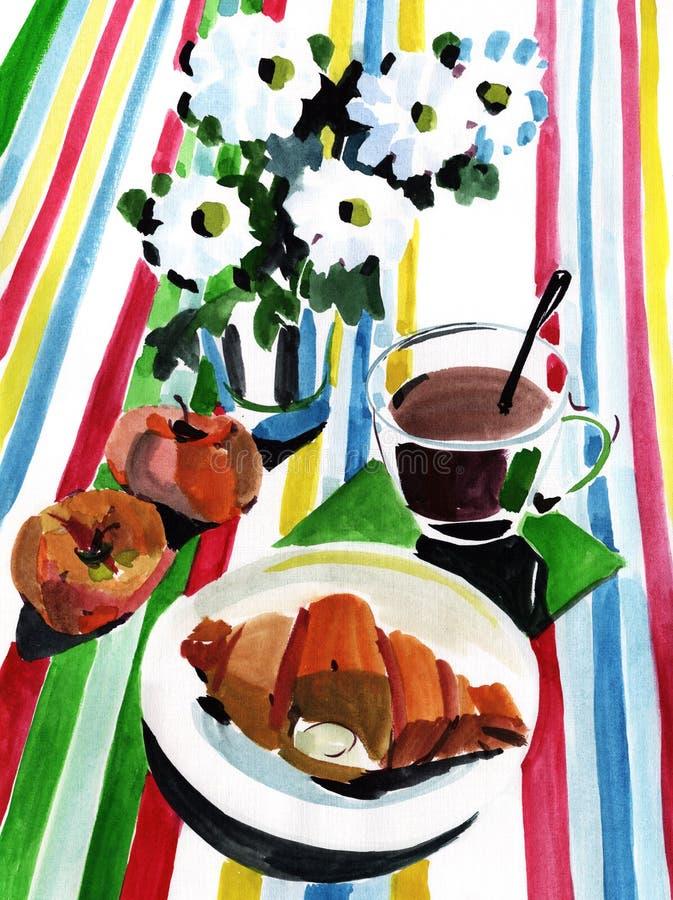 Śniadanie z croissant ilustracja wektor