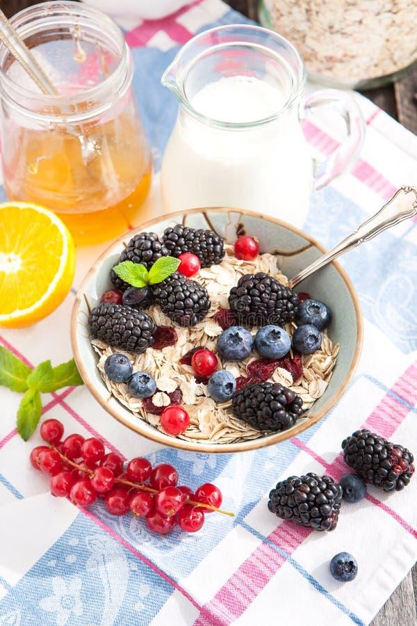 Śniadanie z granola i świeżymi jagodami obraz royalty free