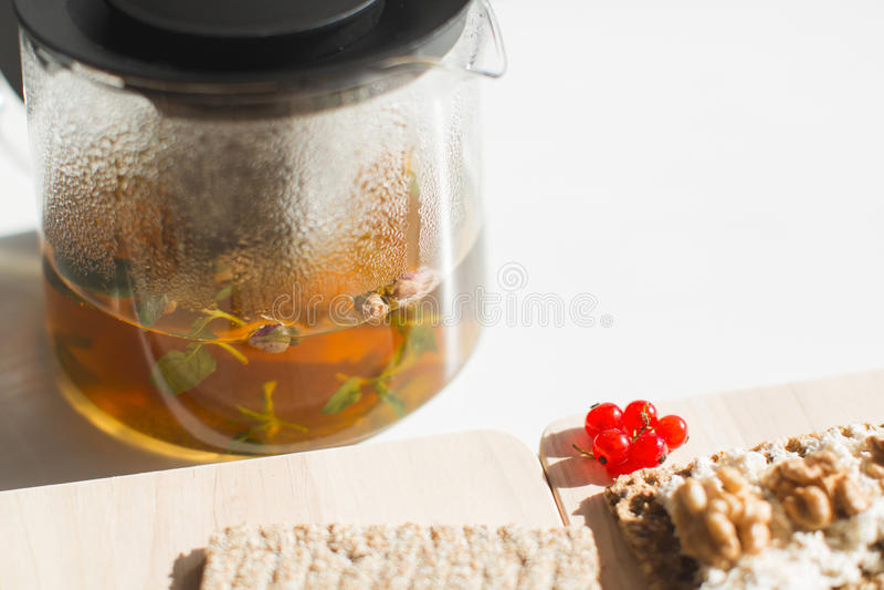 Śniadanie z herbatą fotografia stock