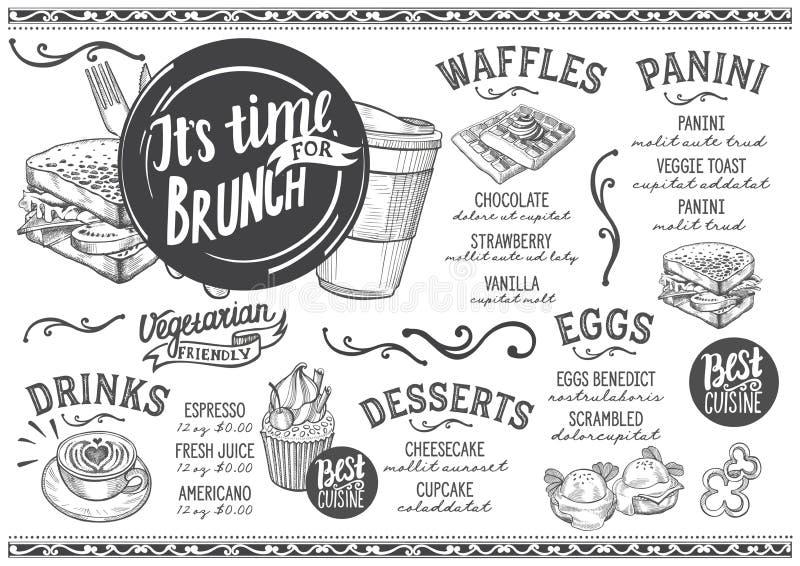 Śniadanio-lunch menu restauracja, karmowy szablon ilustracji