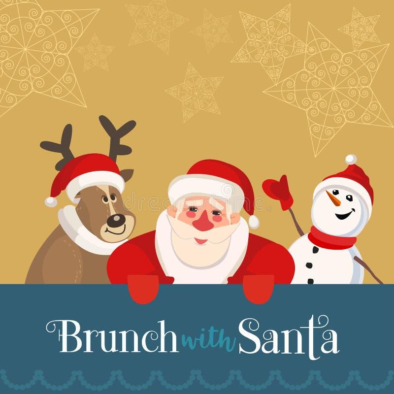 Śniadanio-lunch z Santa ilustracja wektor