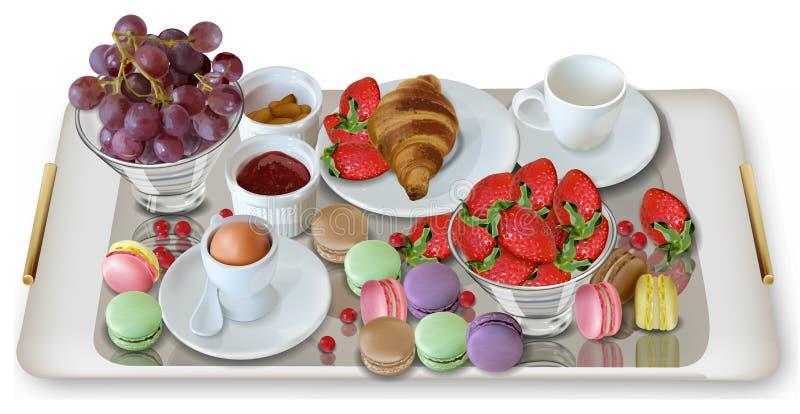 Śniadaniowa kawa, croissant truskawek wektor realistyczny Pełnego ranku świeży posiłek 3d menu szczegółowy szablon ilustracji