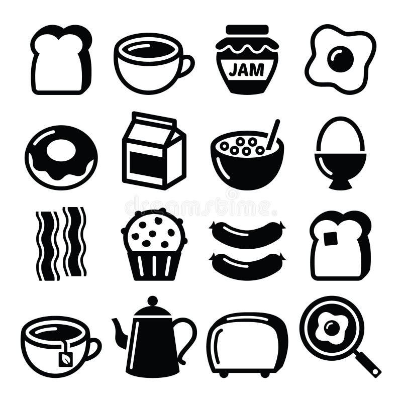 Śniadaniowego jedzenia wektorowe ikony ustawiać - grzanka, jajka, bekon, kawa royalty ilustracja