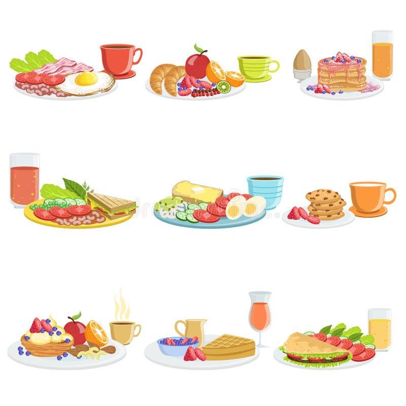 Śniadaniowego posiłku Różni sety ilustracji