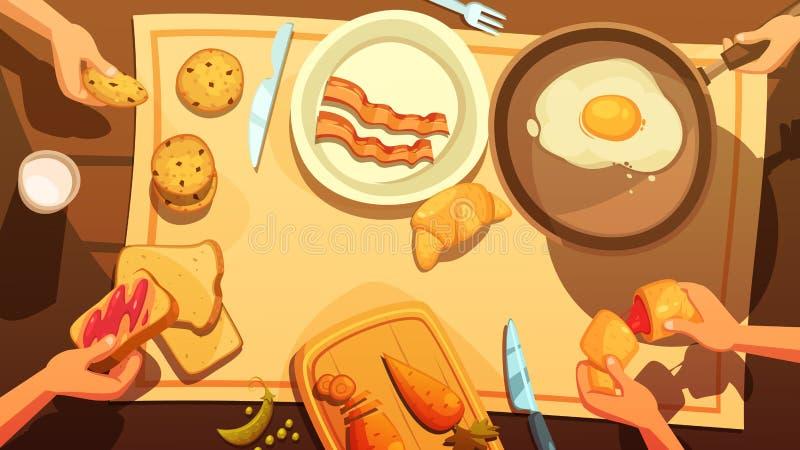 Śniadaniowego stołu odgórny widok ilustracja wektor