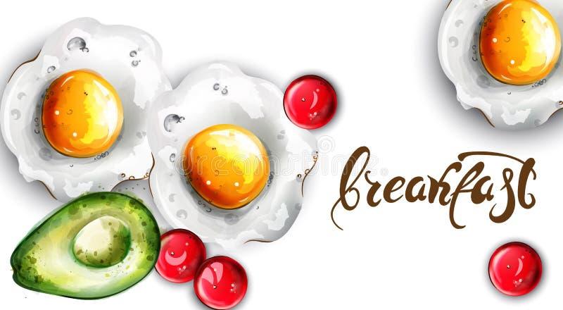 Śniadaniowi jajka i avocado wektor Świezi menu karty szablony royalty ilustracja