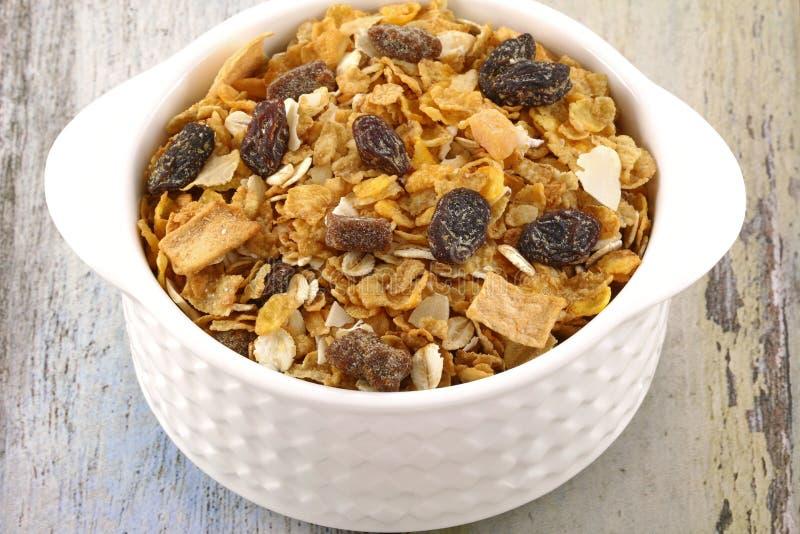 Śniadaniowi zboża z wysuszonym - owoc zdjęcie stock