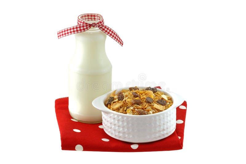 Śniadaniowi zboża z wysuszonym - owocowy i niskotłuszczowy mleko fotografia royalty free