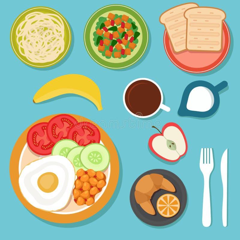 Śniadaniowy łasowania jedzenie, napoje na stołowej odgórnego widoku wektoru ilustraci i royalty ilustracja