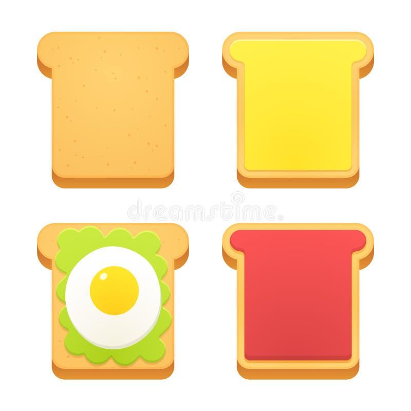 Śniadaniowy grzanka set ilustracji