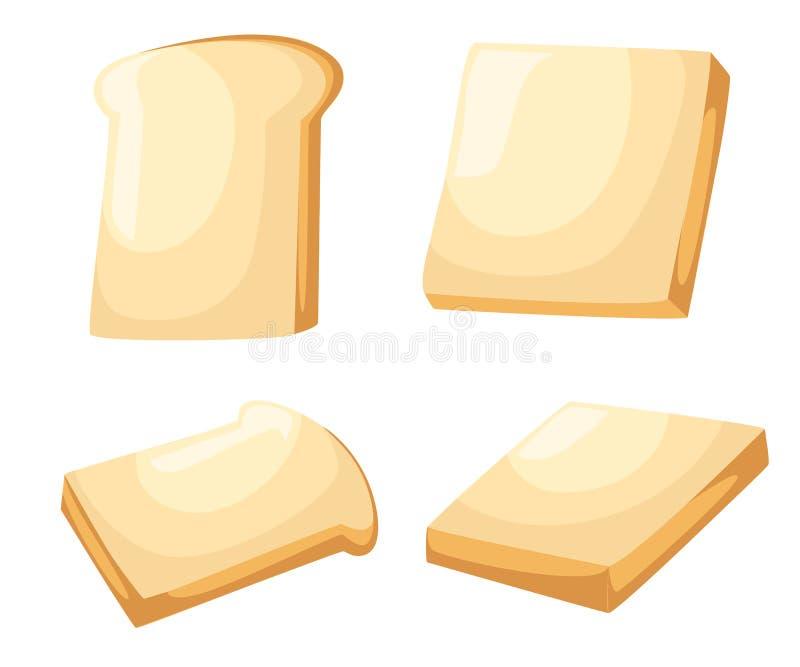 Śniadaniowy grzanka set Plasterki grzanka z masłem, Płaska kreskówka stylu ilustracja Strony internetowej strony i wiszącej ozdob ilustracja wektor