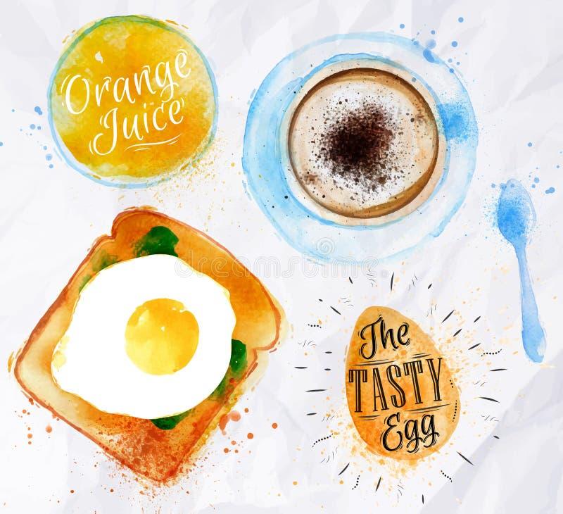 Śniadaniowy grzanki jajka sok ilustracji