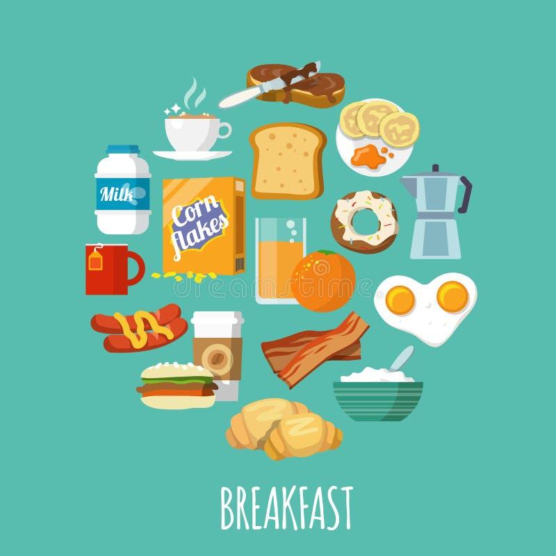Śniadaniowy ikony mieszkanie royalty ilustracja