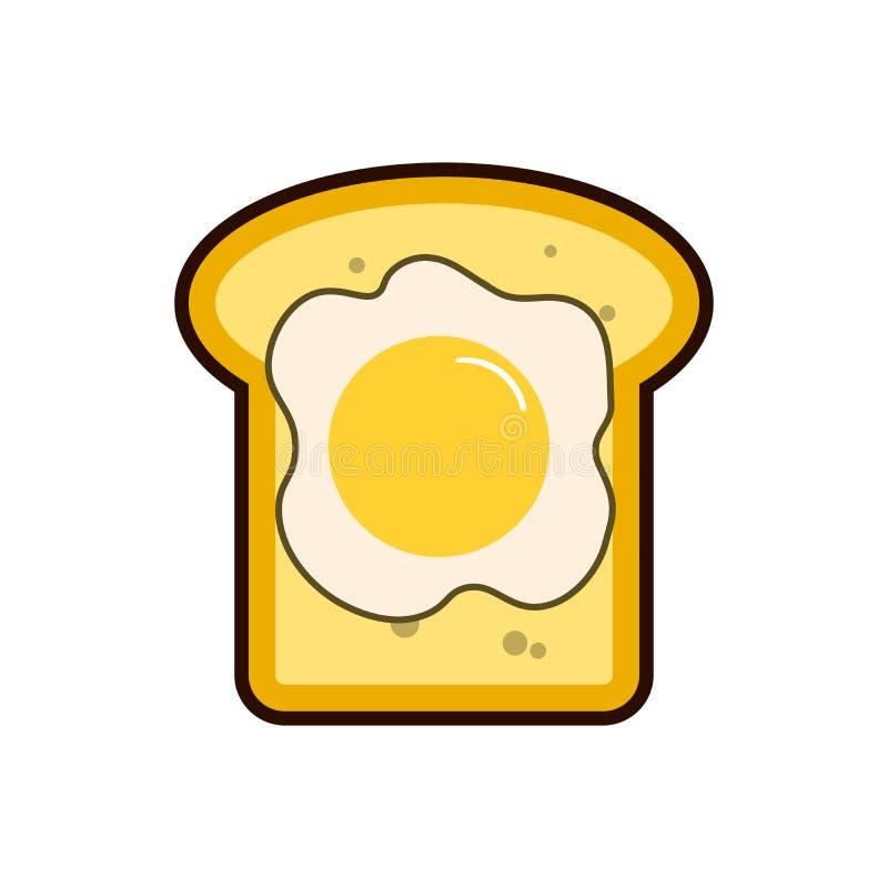Śniadaniowy jajko i Lekka śniadaniowa grzanka dwa i smażyliśmy jajka Ranku posiłku wektor Grzanki ikona odizolowywająca Dobry ilustracja wektor