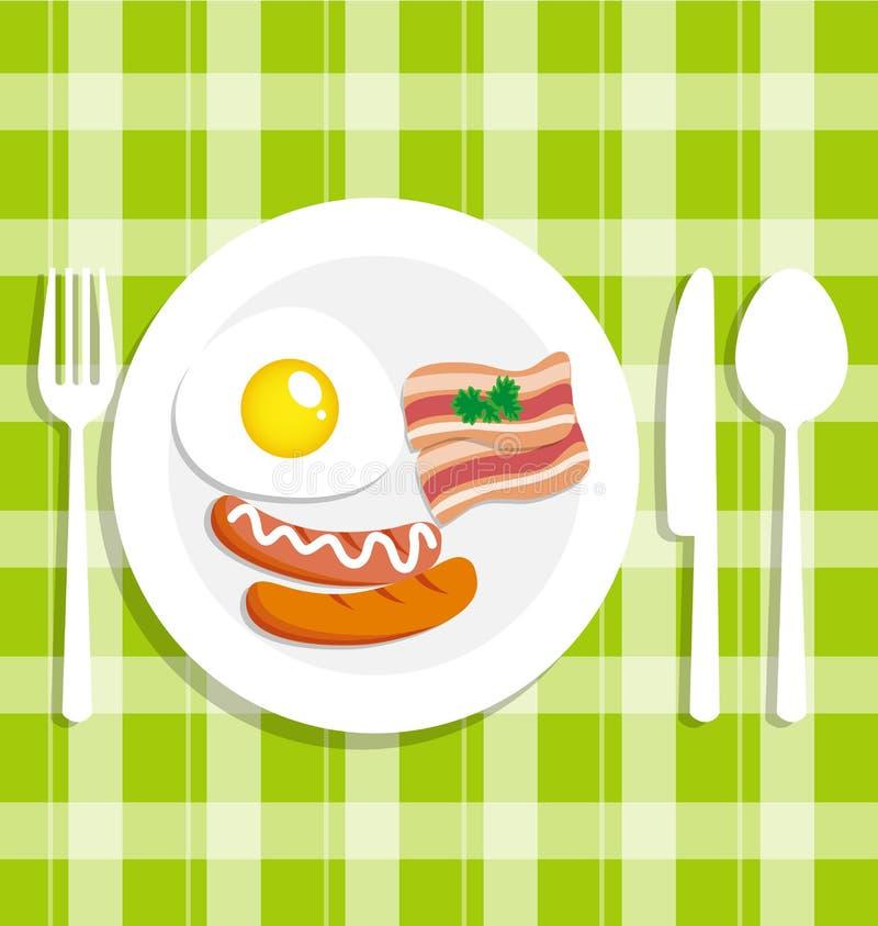 Śniadaniowy jedzenie z jajkiem royalty ilustracja