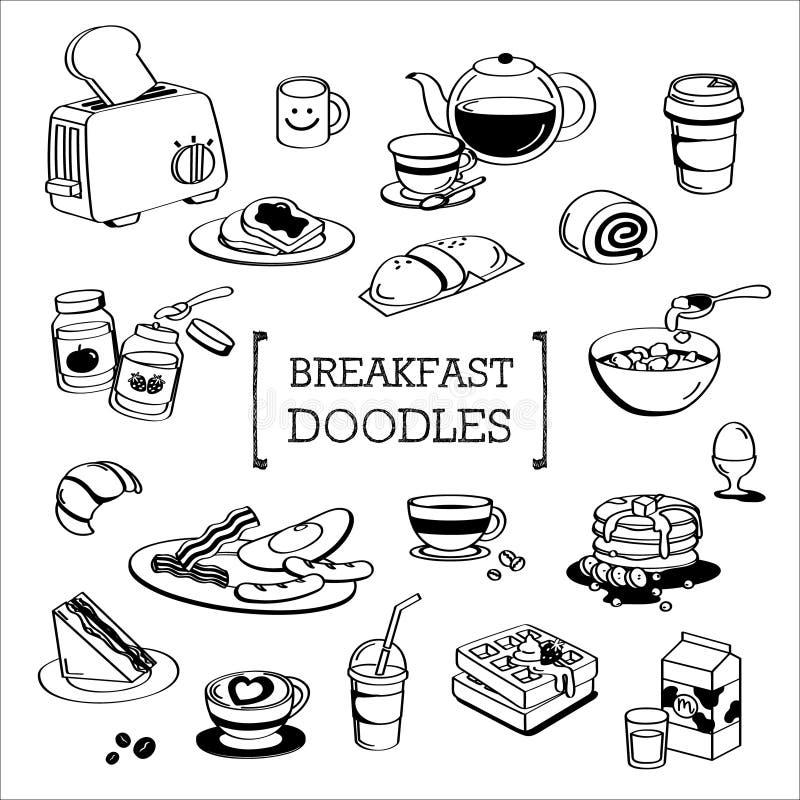 Śniadaniowy menu Doodle, ręka rysunku Śniadaniowy menu style royalty ilustracja