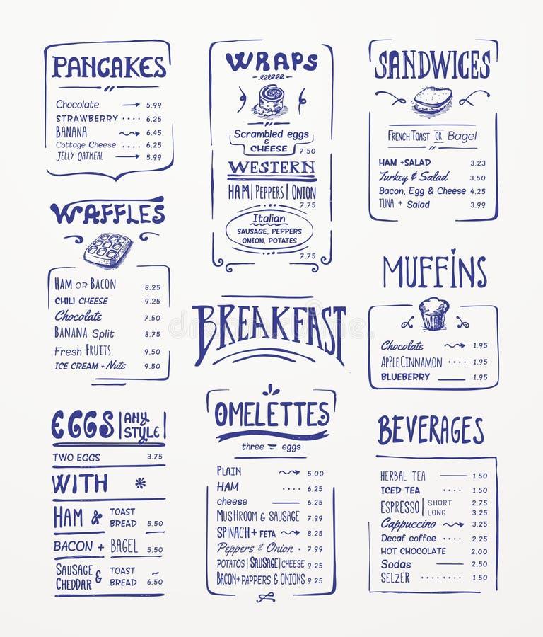 Śniadaniowy menu szablon. royalty ilustracja