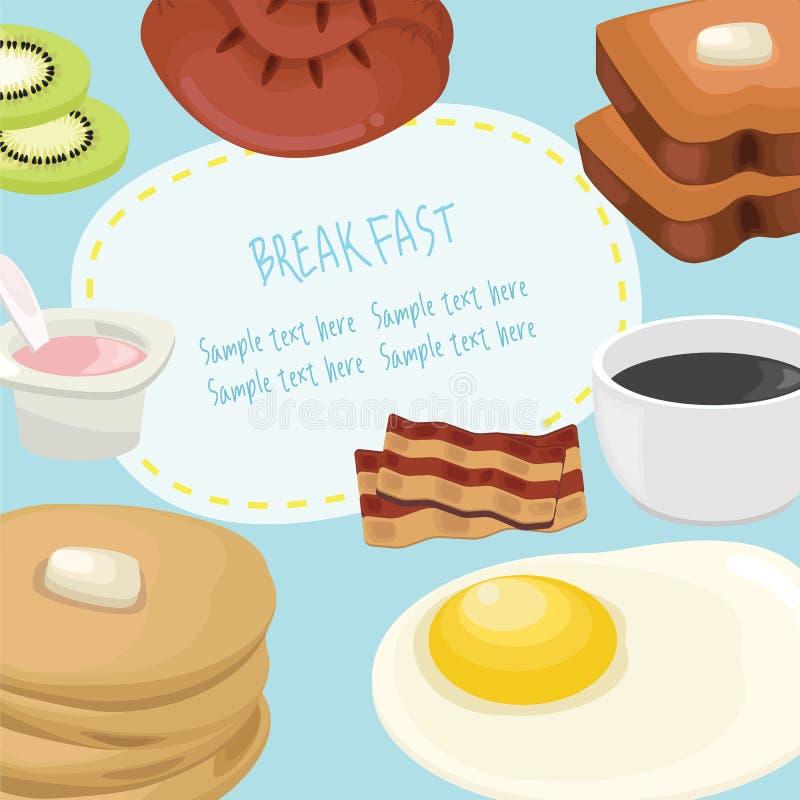 Śniadaniowy pojęcie z świeżej żywności i napojów płaskimi ikonami ustawia wektorową ilustrację royalty ilustracja