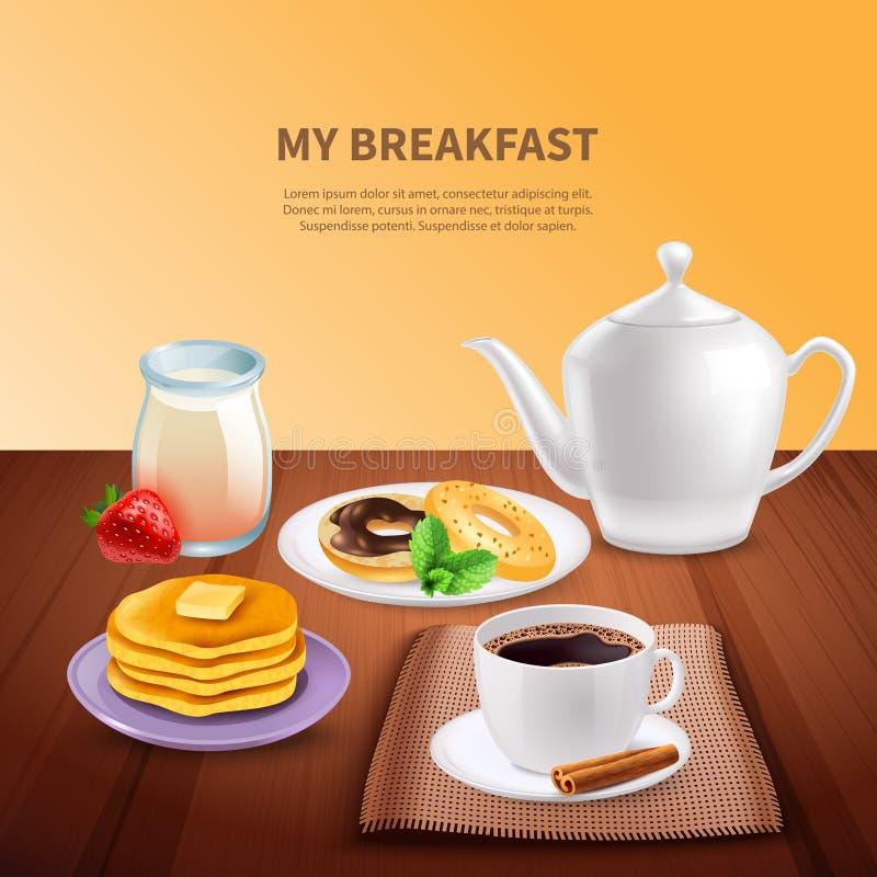 Śniadaniowy Realistyczny tło ilustracja wektor