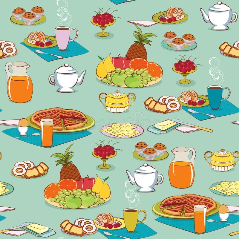 śniadaniowy tła jedzenie royalty ilustracja