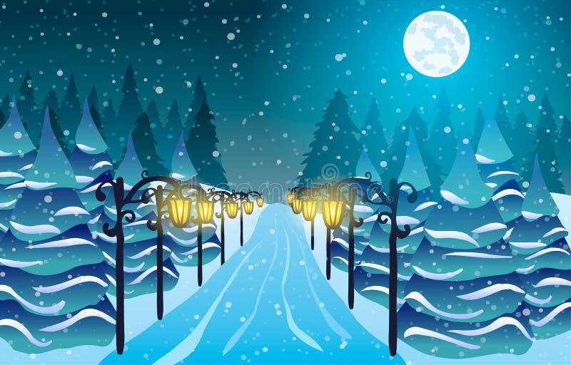 Śnieżna aleja wśród świateł, choinek i księżyc, royalty ilustracja