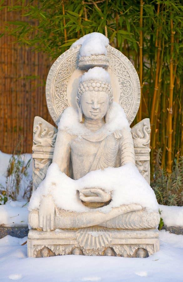 śnieżna Buddha statua fotografia stock