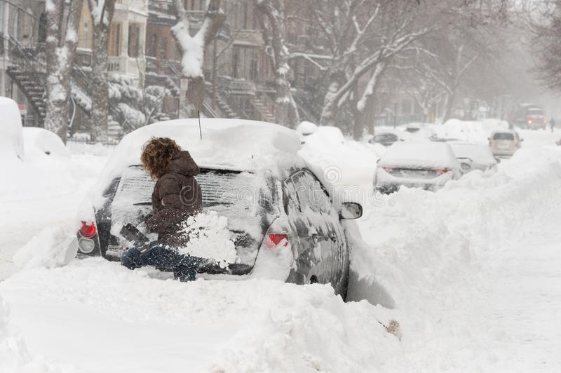 Śnieżna burza Stella w Montreal zdjęcie royalty free
