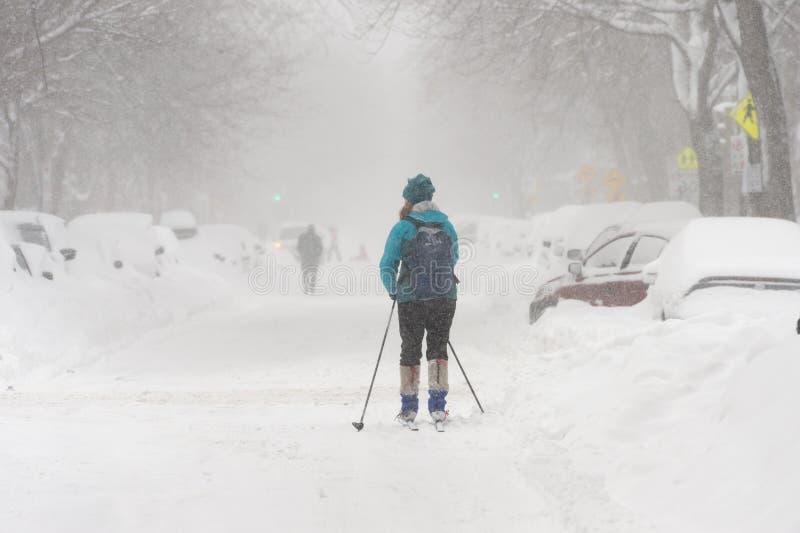 Śnieżna burza Stella w Montreal zdjęcia royalty free