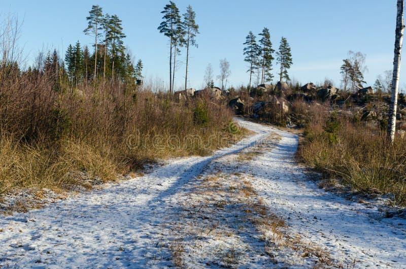 Śnieżna droga gruntowa obrazy royalty free