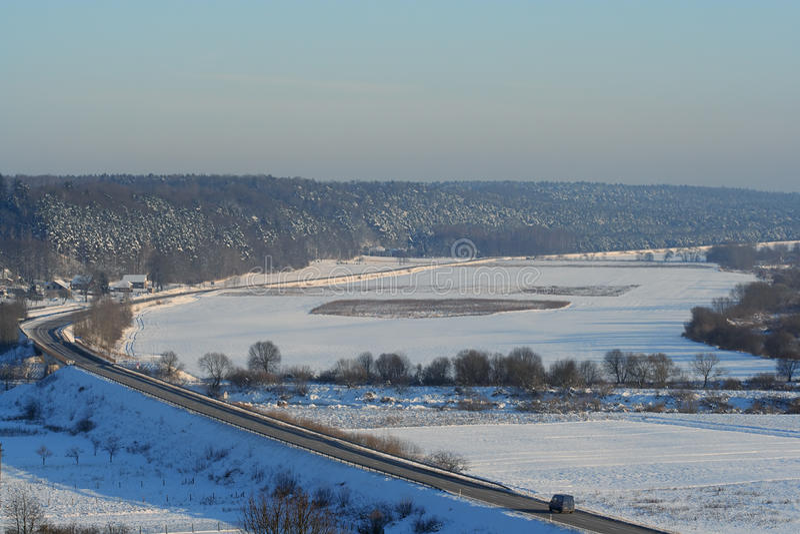 śnieżna drogi zima obrazy stock