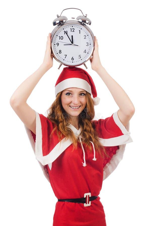 Śnieżna dziewczyna z zegarem obraz royalty free