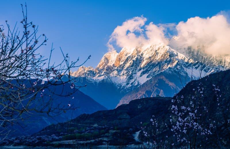 Śnieżna góra wschód słońca zdjęcie royalty free