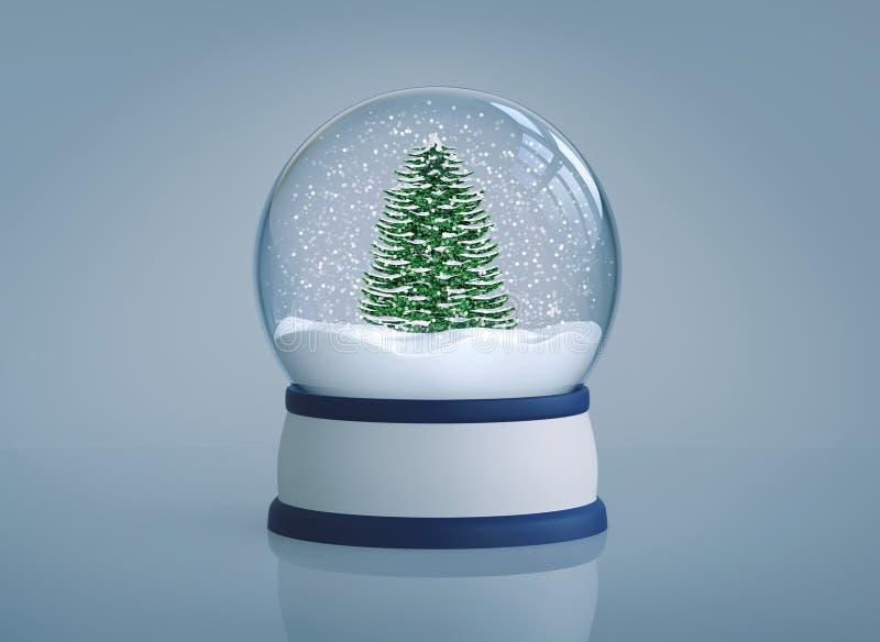 Śnieżna kula ziemska z choinką na błękitnym tle ilustracji
