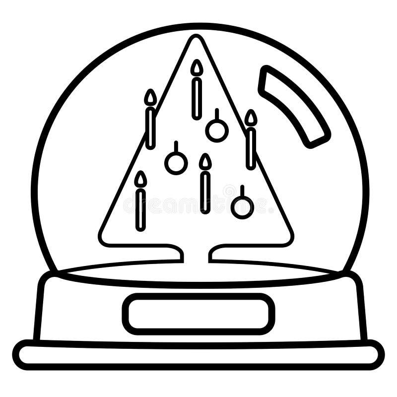 Śnieżna kula ziemska z Christams drzewem ilustracji