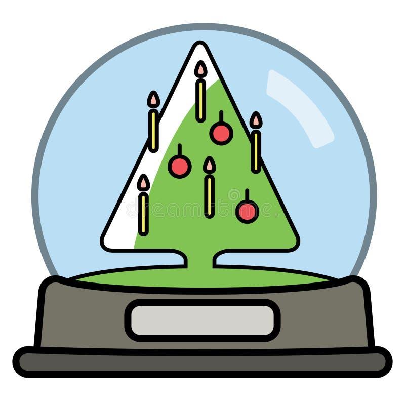 Śnieżna kula ziemska z Christams drzewem royalty ilustracja